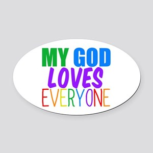 My God Loves Oval Car Magnet